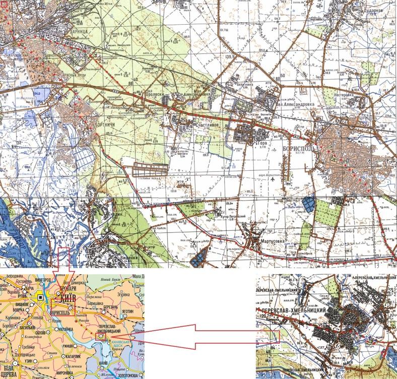 Наш маршрут (через Мартусівку - туди, через Бориспіль - назад)